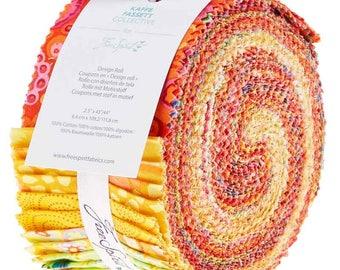 """Free Spirit - Kaffe Fassett Classics Citrus Design Roll /Jelly Roll - 40, 2.5"""" x 42"""" Precut Fabric Strips"""
