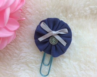 Fabric Flower  Paper Clip Navy Blue for Your Planners