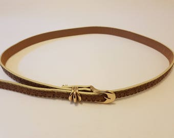 Thin Tan and Cream Floral Gold Buckle Belt