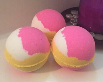 Papaya Mango Bath Bomb Bath Fizzer W/ Shea Butter Coconut Oil Epsom Salt 7 oz Baseball Size Handmade FREE SHIPPING (US)