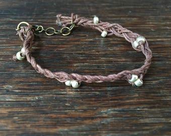 Braided Twine Bead Bracelet w/ metal clasp& chain
