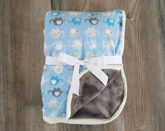 Baby boy blanket/blue boy blanket/baby boy minky blanket/elephant babyblanket/security blanket/carseat blanket/ soft flannel minky blanket