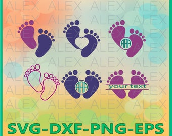 70% OFF, Baby Feet Svg, Baby Monogram Svg, Cut Files,  Baby Feet Svg Files, Dxf, Png, Eps File, silhouette files, Baby Split-Monogram Svg
