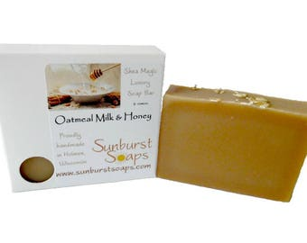 Oatmeal Milk and Honey Shea Soap - 4 oz, homemade soap, oatmeal, shea butter, coconut oil, bar soap, best seller, gift for her, gift for him