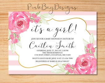 It's A Girl Baby Shower Invitation, Watercolor Floral Baby Shower Invite, Floral Baby Shower Invitation, Baby Shower Invite, It's A Girl