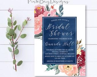 Burgundy Floral Bridal Shower Invitation, Navy Floral Bridal Shower Invitation, Burgundy Floral Invite, Bridal Shower Invitation, Watercolor