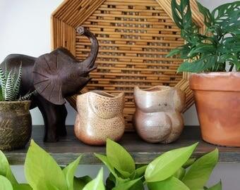 Handmade Ceramic Curved Studio Pottery Vessels/Vases/Planters, Set of 2