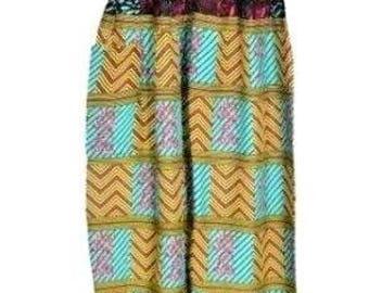 GEOMETRIC Womens Ladies Cotton Ali Baba Harem Hareem Full Length Trousers Pants