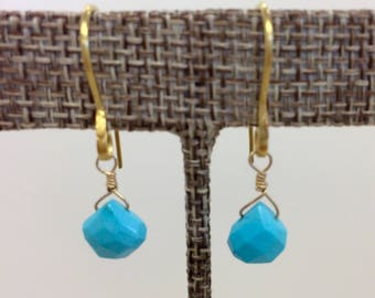 18k post faceted turquoise stone earrings