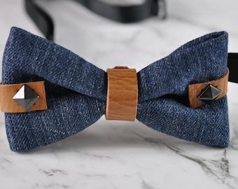 Men Fashion Blue Denim Jeans Grey Rivet Brown Faux Leather Bowtie Bow Tie Wedding Party Limited Edition
