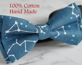 Men Women Blue 100% Cotton Hand Made Bowtie Bow Tie Stars Constellation Map Sky Pattern Wedding Party