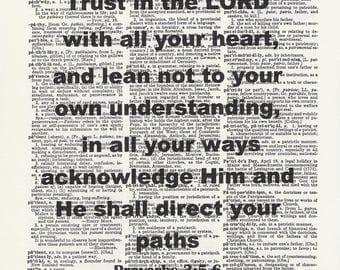Trust in the Lord , Proverbs 3:2-5, Bible Quote, Inspirational, Christian Print, Christian Home Decor, Scripture Verse, Christian Art