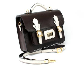 Briefcase Backpack Vintage semi-rigid genuine leather