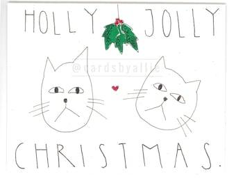 Holly Jolly Cat Christmas Card