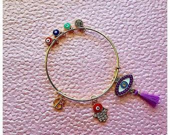 Evil Eye Bangle Bracelet - Choose ANY initial - Can be CUSTOMIZED