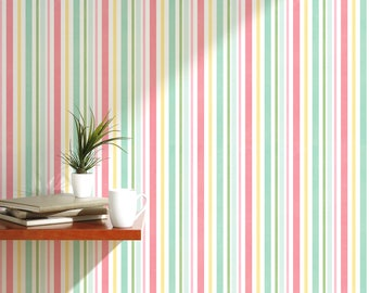 Colorful vintage removable wallpaper with stripes peel and stick temporary wall covering with green and pink temporary wall decal CC038