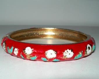 Red enamelled bangle, bracelet,cloisonne, vintage, hand decorated, marked FL