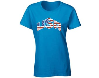 USA Flag Inside Shirt T shirt Tops 4th of July Fourth of July US National Colors Flag