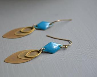 Bronze teal petal brass earrings