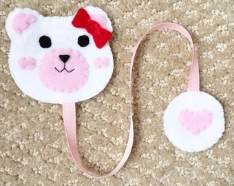 Pink bear bookmark//felt//ribbon//Valentine's Day gift