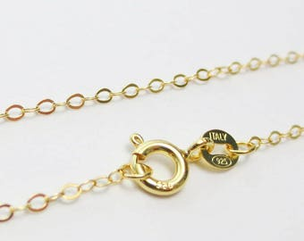 """Bulk 20"""" Solid 925 Sterling Silver 18k Yellow Gold 1.6 x 2.1mm Flat Oval Cable Delicate Necklace Chain Spring Clasp Jewelry Wholesale Italy"""