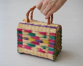 Reed Bag with wicker handles, small size, traditional portuguese bag, handmade, handbag, reed basket.