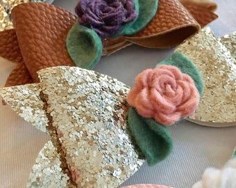 "Floral Bow Headband ""the Rosie"" - faux leather bow, glitter bow, felt flower headband, toddler girl, baby girl, hair accessory"