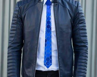 Dapper Blue Hive Glaze Style Tie - (Suit Accessories - NeckTie, Hex Neck tie Style)