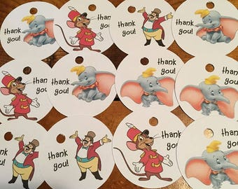 12 Dumbo Party Favor Thank You Tags