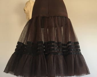 Vintage 1950's Brown & Black Petticoat by Chic Parisienne