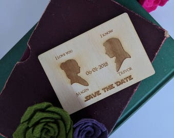 Wood Save the Date Magnet - Han and Leia { Star Wars, Jedi, The force be with you, Laser Engraved, Geek Wedding, Nerd Wedding }