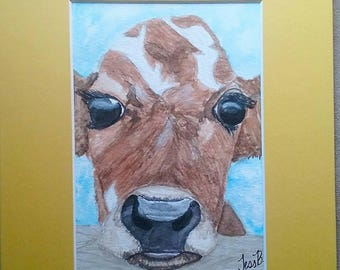Cow, calf, original watercolor signed painting, farm life, wall art, decor