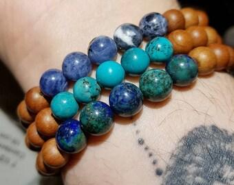 Sandalwood Gemstone 8mm Men's Women's Meditation Beaded Bracelet