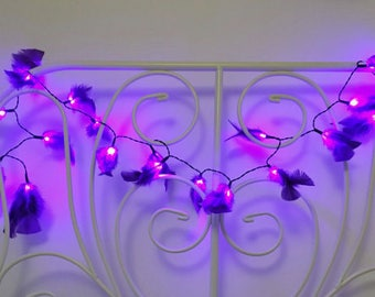 Purple Pink Feather Fairy Lights / String Lights 20 LED decoration