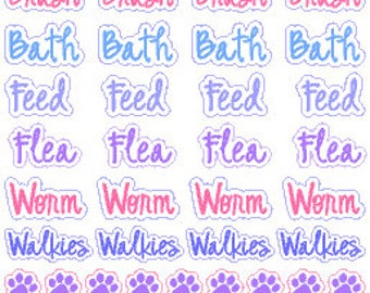 Pet Care Stickers // Happy Planner // Erin Condren // Personal // Diary