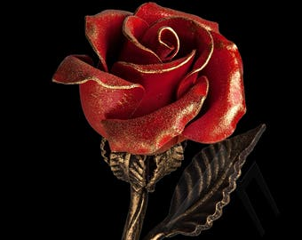 6th Anniversary Gift for Wife - Red Metal Rose, Steel Rose, Wrought Iron Rose