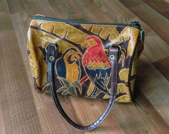 Vintage Leather Hand Tooled Parrot Purse Handbag Purse, Colorful, Made in India