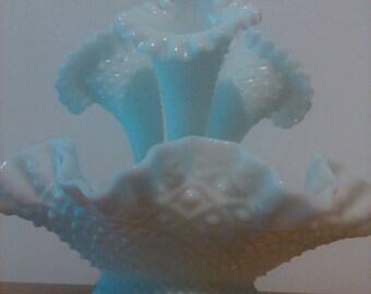 Large White Fenton hobnail epergne