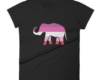 Lesbian Pride Elephant Women's short sleeve t-shirt lgbt lgbtqipa lgbtq mogai pride flag