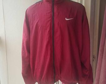 Clearance sale !!! Vintage Nike sports jacket/ Size XL /Biggie size / 90s hip hop / dark maroon with white stripe. 40 USD shipped worldwide.
