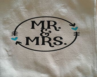 Mr & Mrs pillow cover with teal hearts