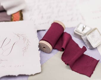 "2"" inch Burgundy Wine Ribbon on wood spool - Hand Spun Unfinished Raw Edge Ribbon - Bouquet Stationary Invitation Suite"
