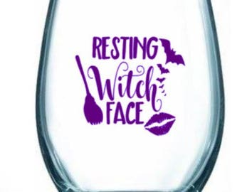 resting/witch/face/broom/bats/gift/halloween/fall/lips/fun/wine/glass