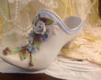 Vintage Porcelain Woman's Shoe With Attached Flowers