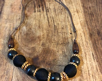 Wooden Beaded Necklace, Black Necklace, Chunky Necklace