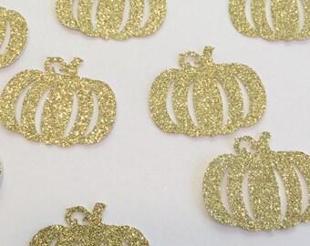 Glitter pumpkin confetti, fall confetti decor, little pumpkin birthday or baby shower theme, pumpkin die cut,