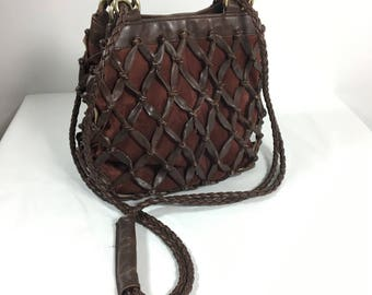 Reserved: Vintage Netted Suede & Leather Convertible Cross Body or Shoulder Bag