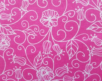Pre Cut Fat Quarter Flower Vine Magenta Cotton Fabric