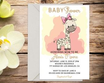 Baby Girl shower invite, Giraffe baby shower, baby girl invitation, shower invitation, printable invitation, digital invitation template