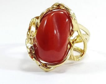 Coral Ring Mediterranean Red Coral Italian jewellry MieleCorals  Bague de Corail Rouge